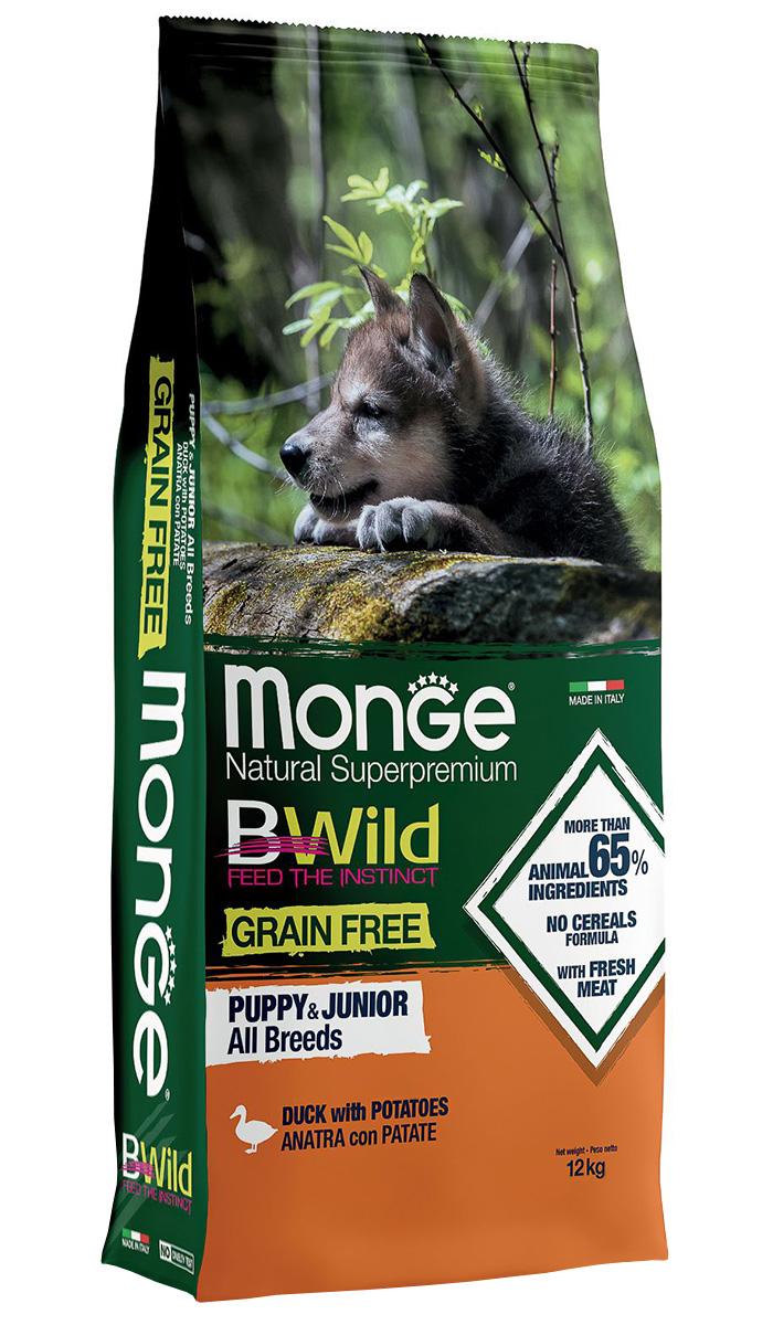 Monge Bwild Grain Free Puppy беззерновой для щенков всех пород с уткой и картофелем (12 + 12 кг) monge monge bwild grainfree dog puppy влажный беззерновой корм для щенков пород с уткой тыквой и кабачками в консервах 400 г