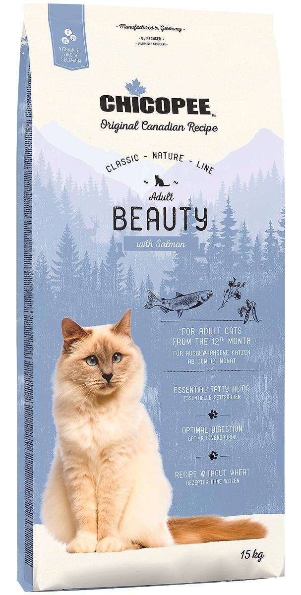 Chicopee Classic Nature Line Cat Adult Beauty для взрослых кошек с чувствительной кожей и шерстью с лососем (1,5 кг)
