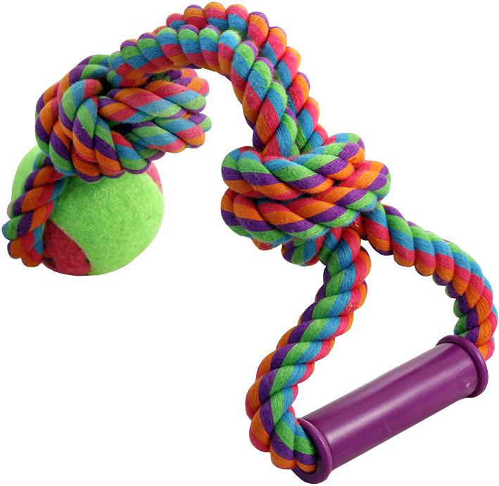 Игрушка для собак Triol Веревка с ручкой 2 узла и мяч 6,5 см 49 см (1 шт)