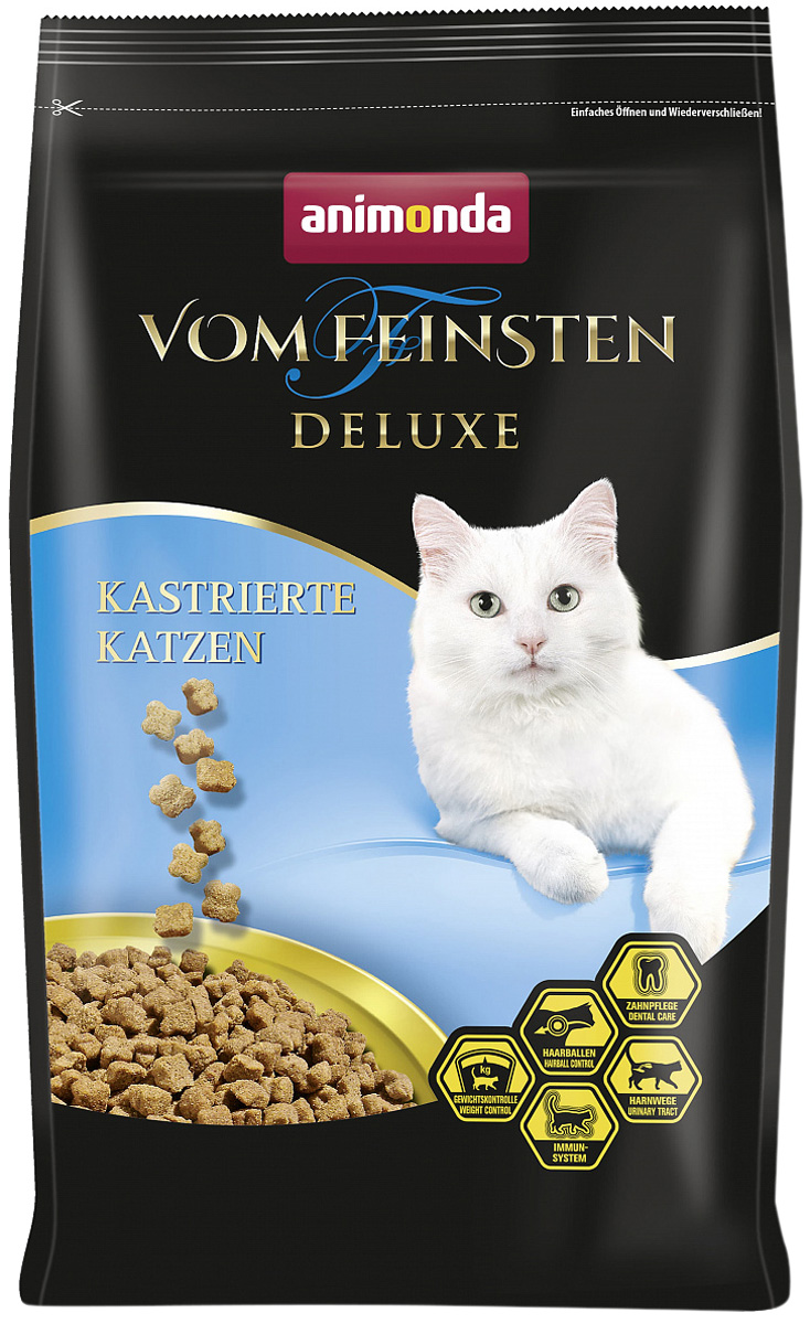 Animonda Vom Feinsten Deluxe Castrated для взрослых кастрированных котов и стерилизованных кошек с птицей (1,75 кг)
