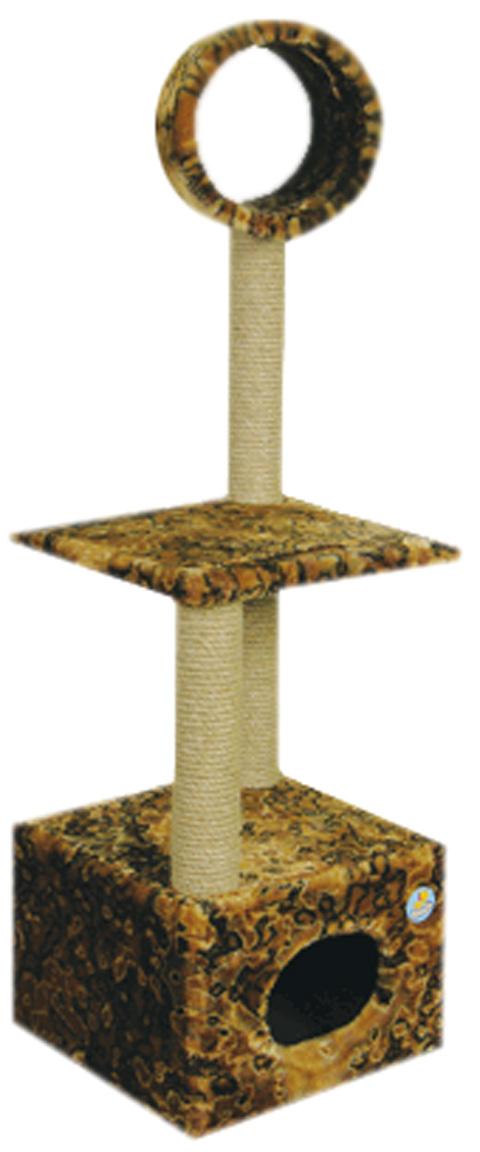 Дом для кошек большой с лежанкой и трубой Зооник цветной мех 42 х 42 х 137 см (1 шт)