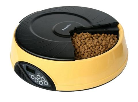 Автоматическая кормушка для кошек и собак на 4 кормления с ЖК-дисплеем Feed-Ex желтая (1 шт).