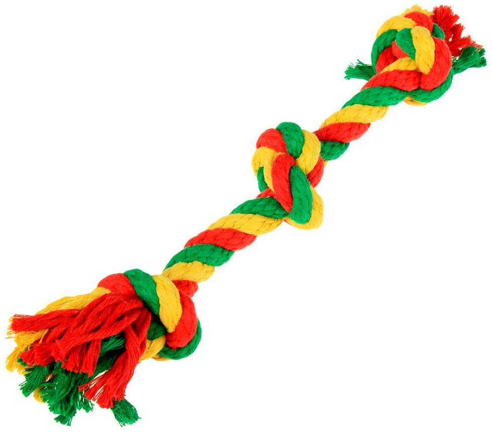 Игрушка для собак Doglike Dental Knot Грейфер с 3 узлами канатный цветной малый (1 шт)