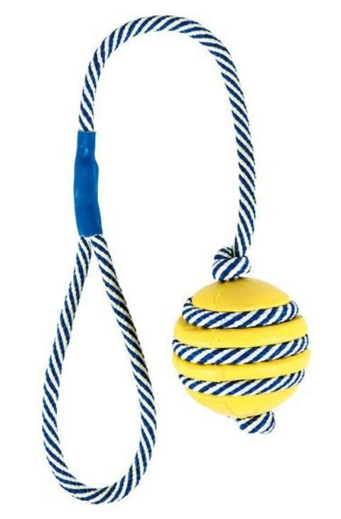"""Trixie игрушка для собак """"Мяч со светящейся веревкой"""", натуральный каучук (5 см/40 см)"""