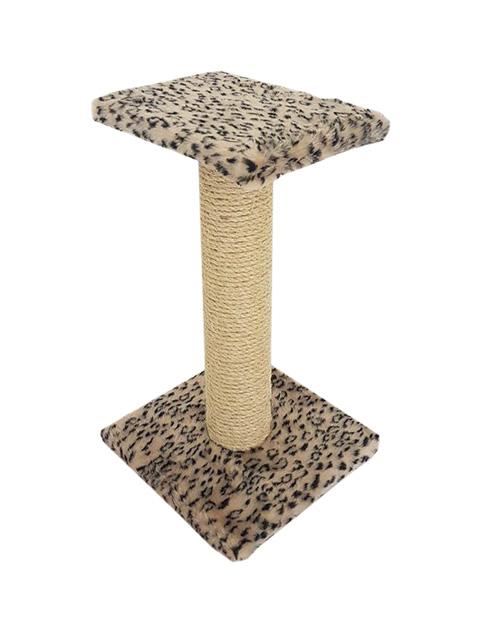 Когтеточка Зонтик толстый 50 см Пушок сизаль мех бежевый леопард (1 шт)