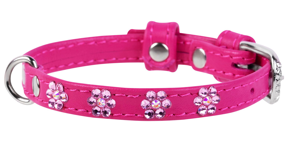Ошейник кожаный для собак с клеевыми стразами Цветочек розовый 12 мм 21 - 29 см Collar WauDog Glamour (1 шт) ошейник collar glamour с клеевыми стразами цветочек ширина 12мм длина 21 29см лайм для собак 32695