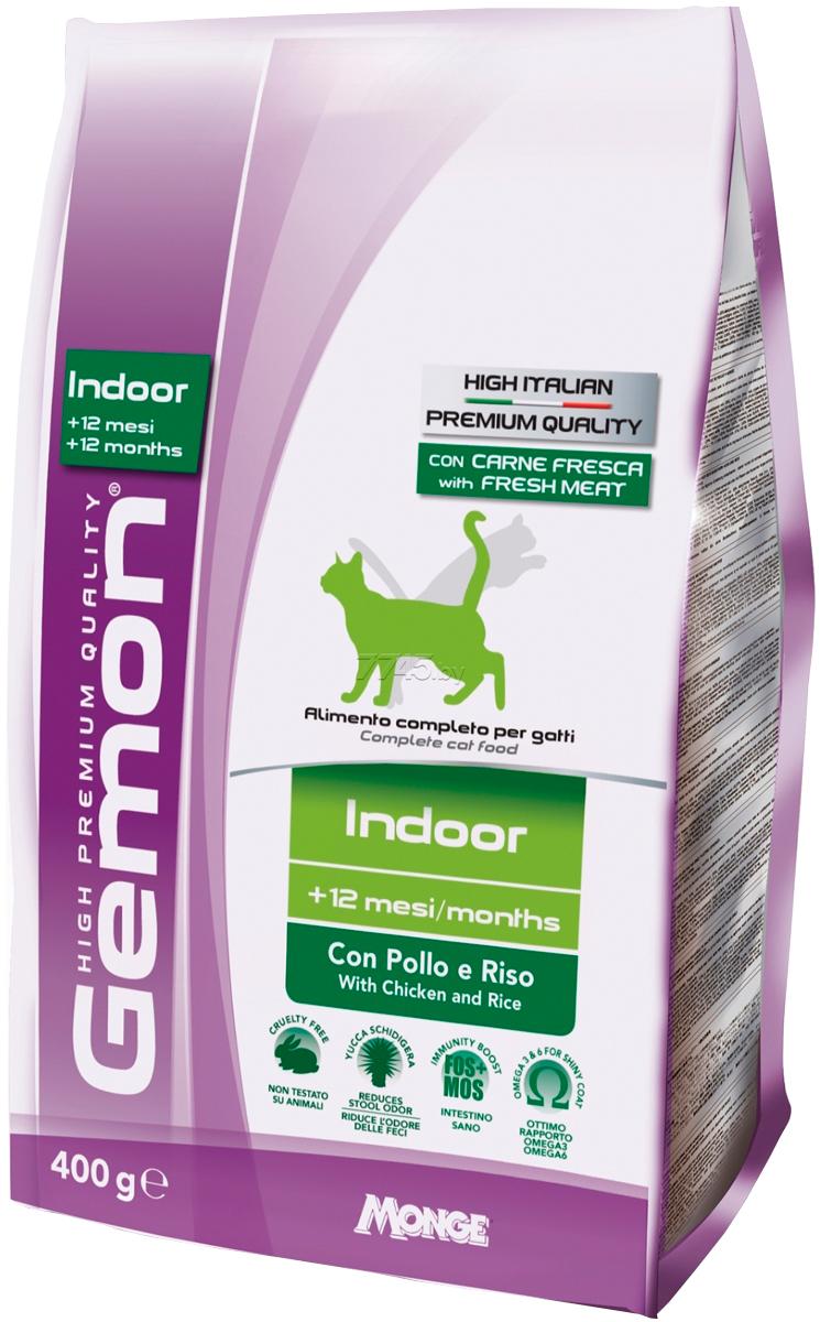 Gemon Cat Indoor для взрослых кошек живущих дома с курицей и рисом (0,4 кг)