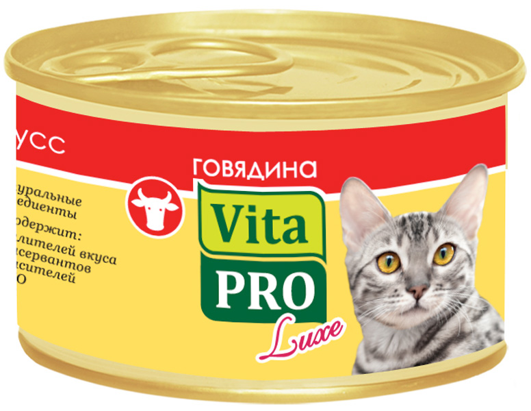 Vita Pro Luxe для взрослых кошек мусс с говядиной 85 гр (85 гр х 24 шт)