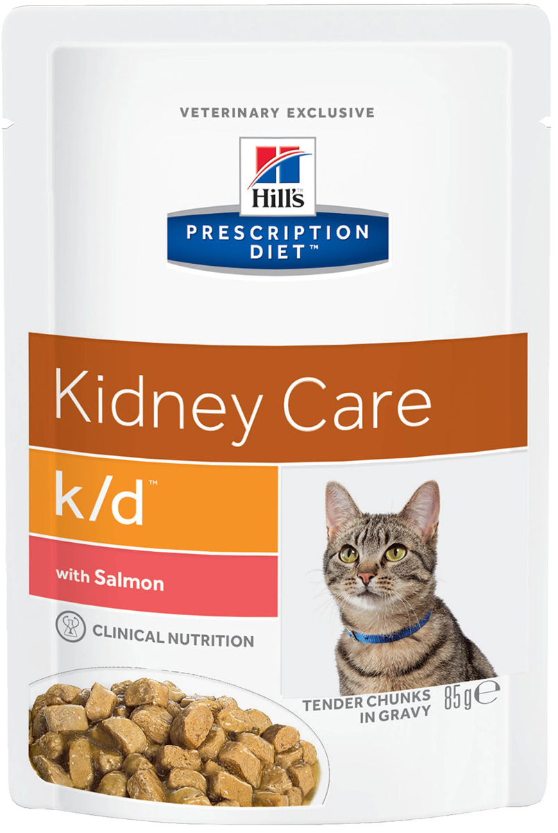 Hill's Prescription Diet K/d Salmon для взрослых кошек при заболеваниях почек и мочекаменной болезни с лососем в соусе 85 гр (85 гр)