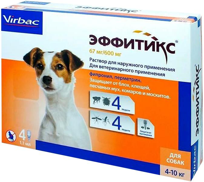Фото - эффитикс капли для собак весом от 4 до 10 кг против блох, клещей, песчаных мух, комаров и москитов 1 пипетка по 1,1 мл (1 пипетка) гельминтал капли spot on на холку для кошек от 4 до 10 кг