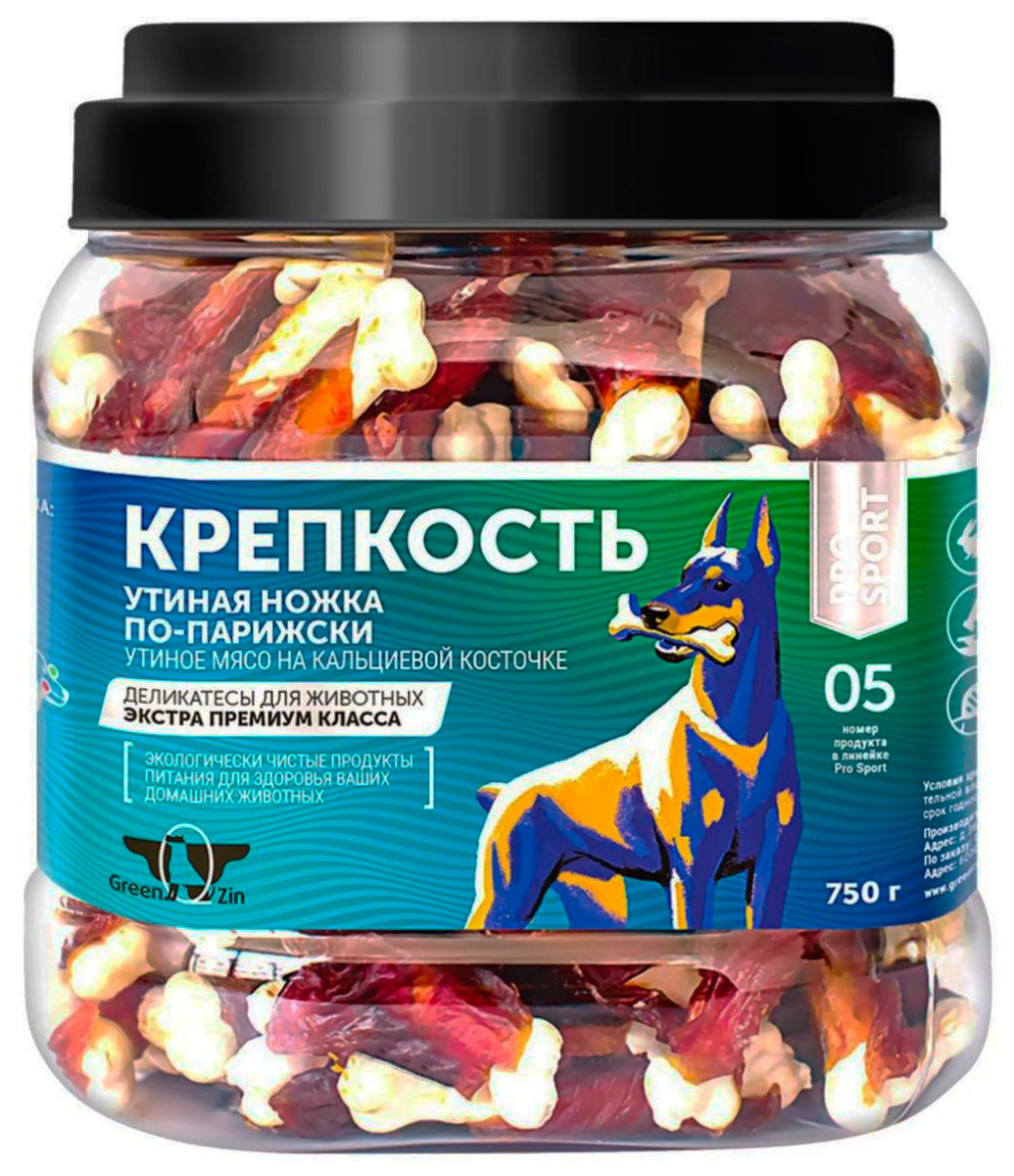 Лакомство Green Qzin КрепКость для собак всех пород кальциевые косточки с уткой 750 гр (1 шт)