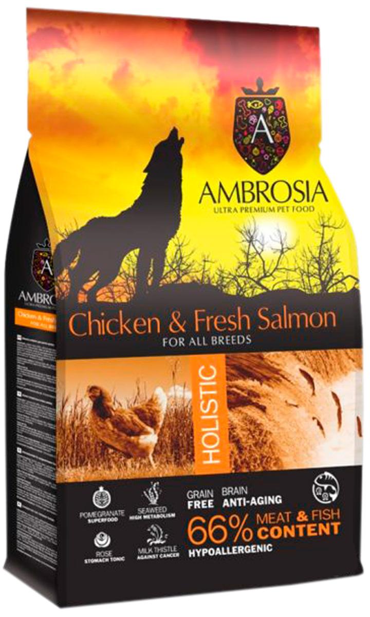 Ambrosia Dog Adult Chicken & Fresh Salmon беззерновой для взрослых собак всех пород с курицей и лососем (2 кг)