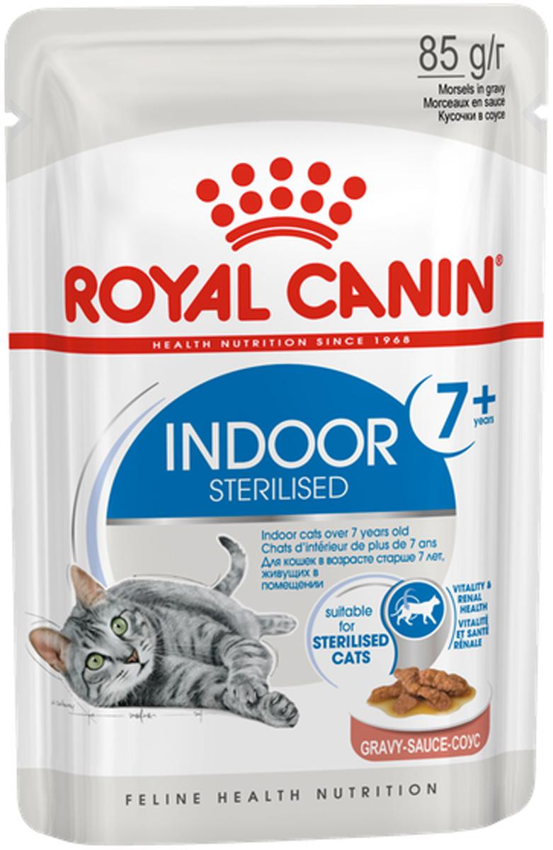 Royal Canin Indoor Sterilised 7+ для пожилых кастрированных котов и стерилизованных кошек живущих дома в соусе 85 гр (85 гр х 12 шт)