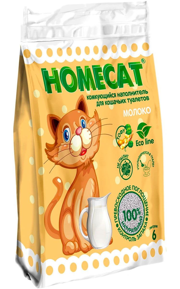 Homecat эколайн молоко наполнитель комкующийся для туалета кошек  (6 + 6 л)