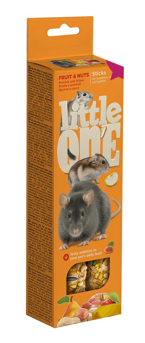 Little One - Литл Ван палочки для хомяков, мышей, крыс и песчанок с фруктами и орехами (2 шт) мюсли axa медовые с фруктами и орехами 250 гр