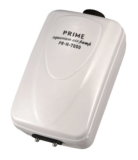 Компрессор Prime Pr-h-7000 двухканальный регулируемый, 10 Вт, 2 х 6 л/мин, для аквариумов глубиной до 120 см, бесшумный (1 шт)