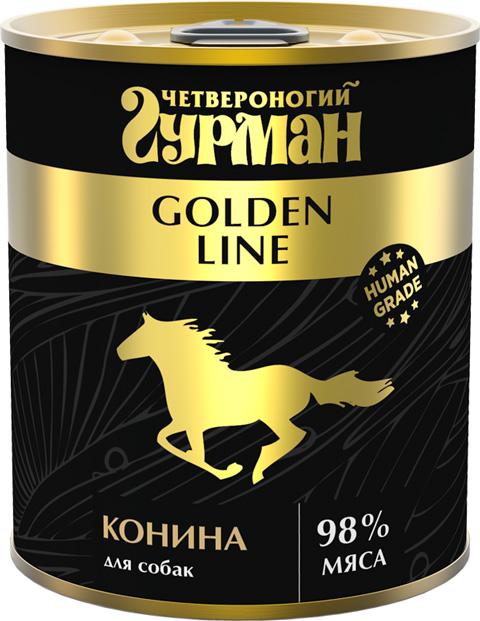 Четвероногий гурман Golden Line для взрослых собак с кониной натуральной в желе (340 гр х 12 шт) фото