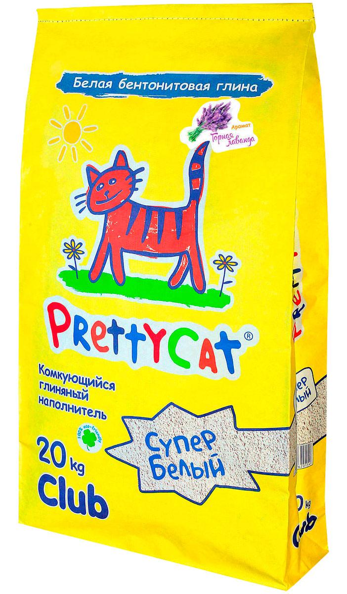 Pretty Cat супер белый наполнитель комкующийся для туалета кошек с ароматом лаванды (20 + 20 кг)