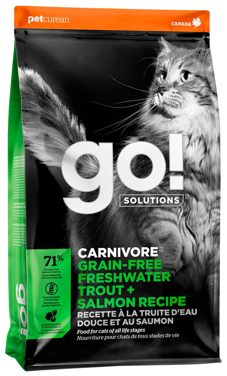 Go! Solutions Carnivore беззерновой для кошек и котят с чувствительным пищеварением с форелью и лососем (1,4 кг)