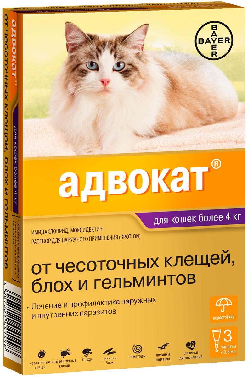Advocate – Адвокат капли для кошек весом более 4 кг против клещей, блох, вшей, власоедов и кишечных круглых червей Bayer (1 пипетка)
