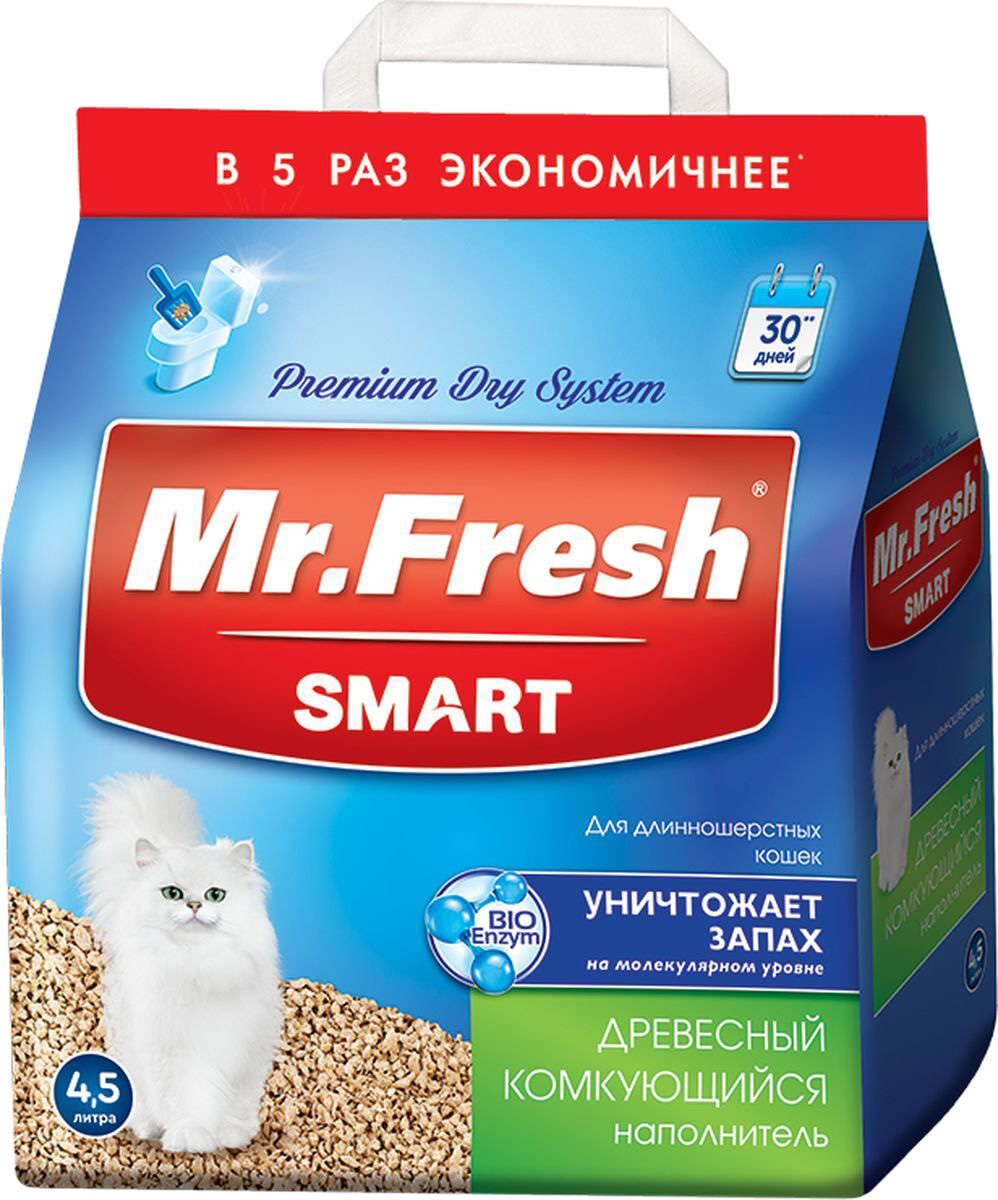 Наполнитель древесный комкующийся Mr.Fresh Smart для туалета длинношерстных кошек (18 л)