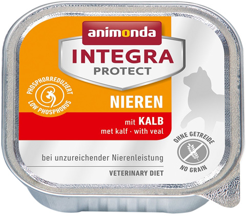 Animonda Integra Protect Cat Nieren Renal для взрослых кошек при хронической почечной недостаточности с телятиной 100 гр (100 гр)