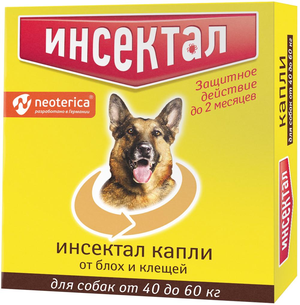 инсектал капли для взрослых собак весом от 40 до 60 кг против клещей и блох (1 пипетка по 4,3 мл) (1 пипетка)