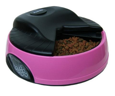 Автоматическая кормушка для кошек и собак на 4 кормления с ЖК-дисплеем и емкостью для льда Feed-Ex розовая (1 шт).