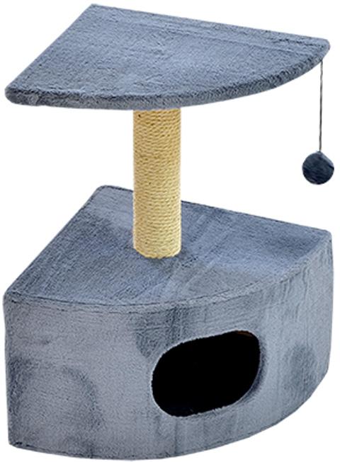 Дом для кошек круглый угловой Зооник серый мех 43 х 43 х 67 см (1 шт)