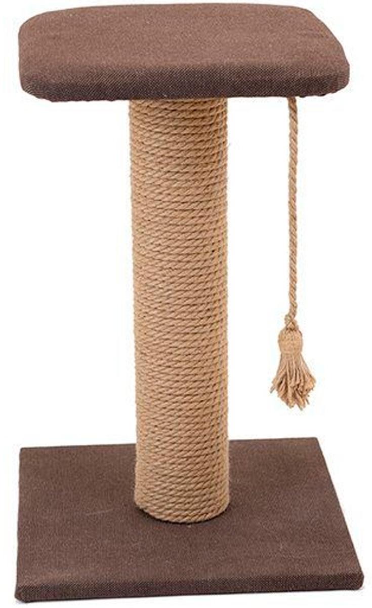 Когтеточка столбик Дарэлл Хайтек квадратная с полкой рогожка джут 37 х 37 х 49 см (1 шт) когтеточка дарэлл джут 95 круглая с 2 полками серая 56 х 36 х 52 см 1 шт