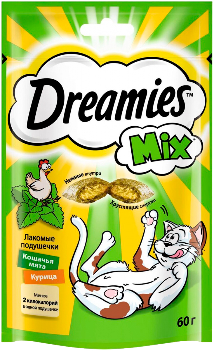 Лакомство Dreamies Mix для кошек подушечки с курицей и мятой (60 гр).