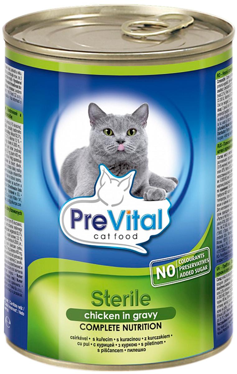 Prevital для взрослых кастрированных котов и стерилизованных кошек с птицей в соусе (415 гр)