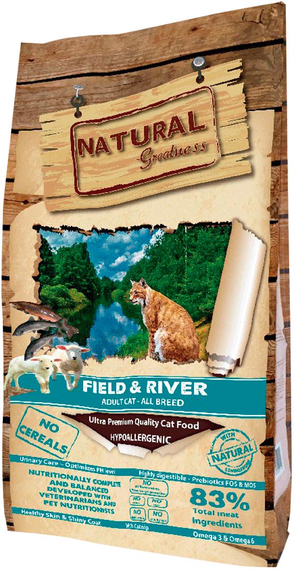 Natural Greatness Field & River Recipe беззерновой для взрослых кошек с лососем и ягненком (0,6 кг)