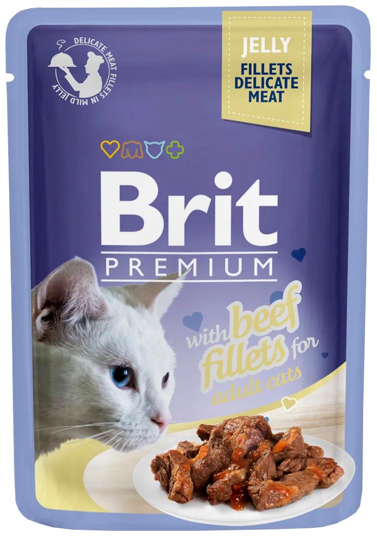 Фото - Brit Premium Cat Jelly Beef Fillets для взрослых кошек кусочки филе говядины в желе (85 гр х 24 шт) brit набор паучей brit premium family plate jelly для взрослых кошек в желе 85 г х 12 шт курица говядина форель и лосось
