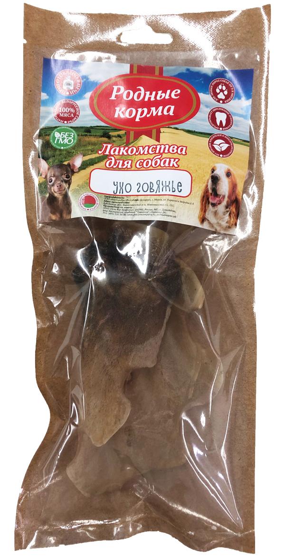 Лакомство родные корма для собак ухо говяжье сушеное в дровяной печи (1 шт)