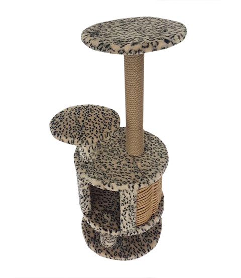 Домик Круглый с плетеными стенками Пушок обычный мех бежевый леопард (1 шт)