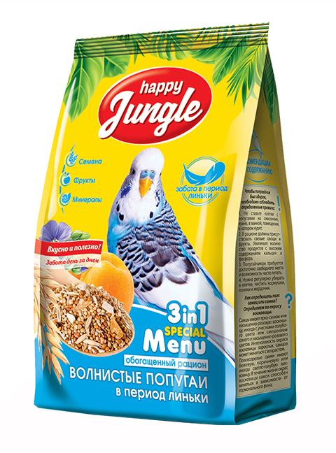 Happy Jungle для волнистых попугаев в период линьки (500 гр)