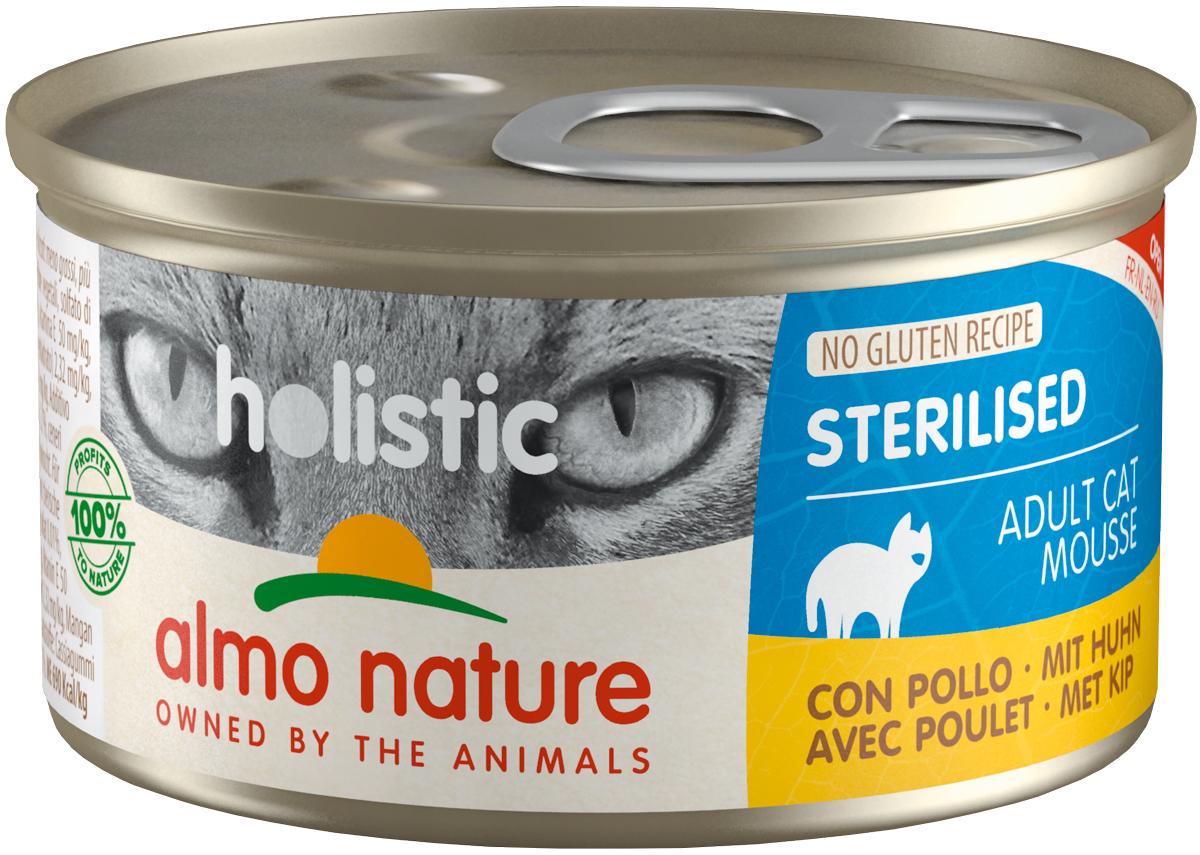 Almo Nature Cat Holistic Sterilised безглютеновые для взрослых кастрированных котов и стерилизованных кошек мусс с цыпленком 85 гр (85 гр х 24 шт)