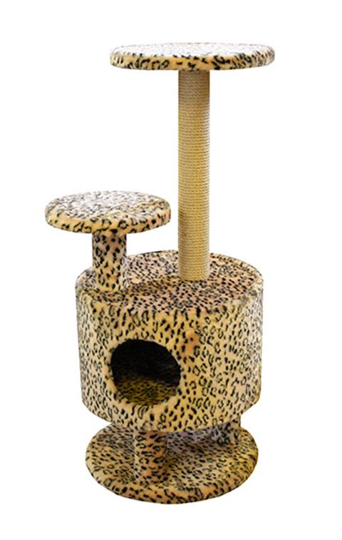 Домик Круглый со ступенькой на ножках Пушок мех бежевый леопард (1 шт)