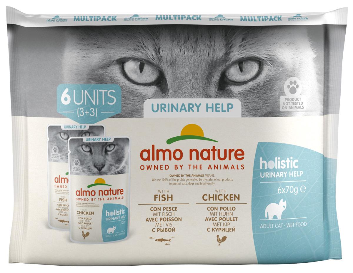 Almo Nature Cat Daily Functional Multipac Sterilised набор паучей для кастрированных котов и стерилизованных кошек с треской и курицей 6 шт х 70 гр (1 шт)