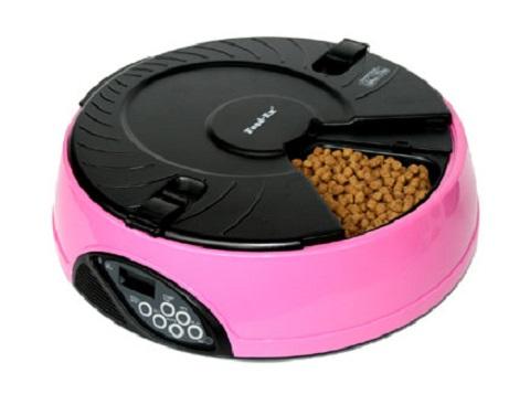 Автоматическая кормушка для кошек и собак на 6 кормлений с ЖК-дисплеем Feed-Ex розовая (1 шт).