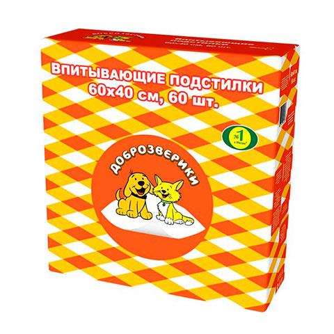 доброзверики Classic пеленки впитывающие для животных, 40 х 60 см (30 шт)