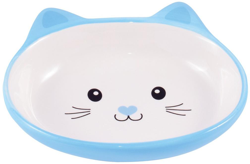 Керамическая миска блюдце КерамикАрт Мордочка кошки голубая (0,16 л)