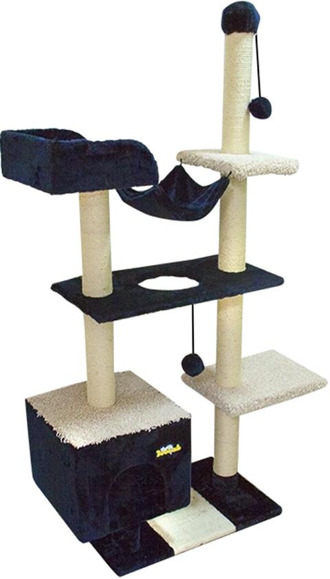 Комплекс для кошек с домом, гамаком и лежанкой Зооник синий мех/ковролин 101 х 43 х 170 см (1 шт)