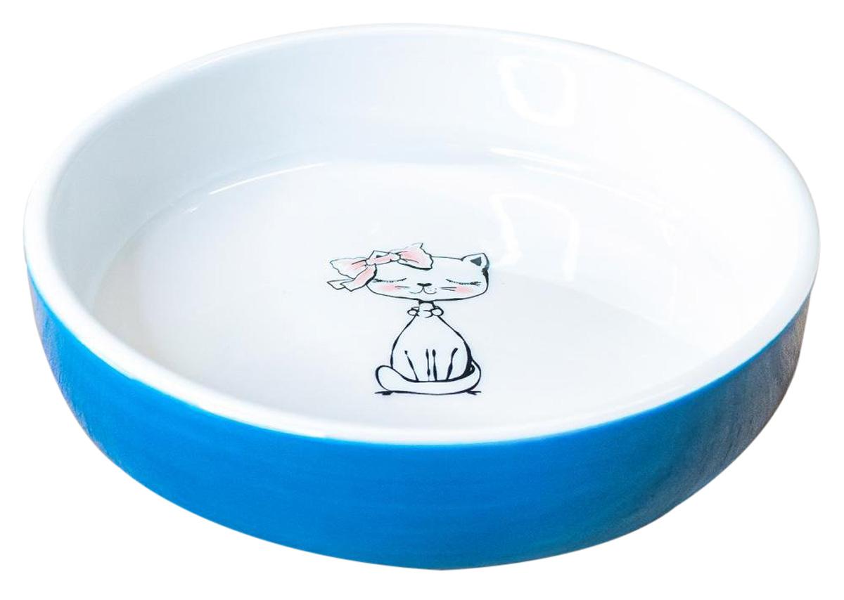 Керамическая миска для кошек КерамикАрт Кошка с бантиком голубая 370 мл  (370 мл)
