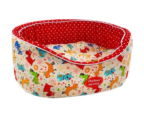 Лежак для собак Премиум № 1 Собачки с красным горошком 43 х 38 х 15 см Родные Места (1 шт)