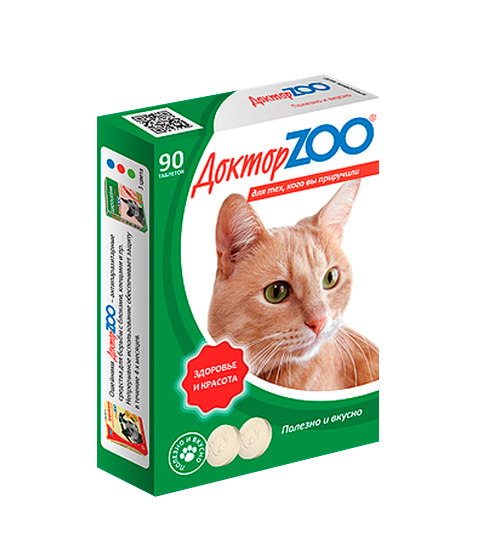 Доктор Zoo здоровье и красота мультивитаминное лакомство для кошек с L-карнитином и таурином (90 таблеток) фото