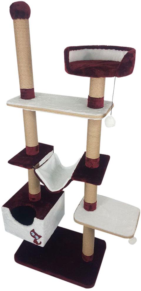 Комплекс для кошек многоуровневый Зооник бордо мех/пенька 110 х 47 х 190 см (1 шт)