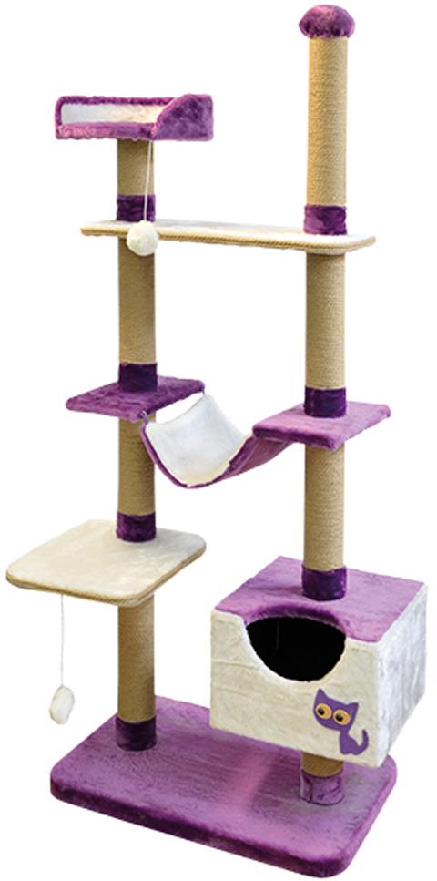 Комплекс для кошек многоуровневый Зооник фиолетовый мех/пенька 110 х 47 х 190 см (1 шт)