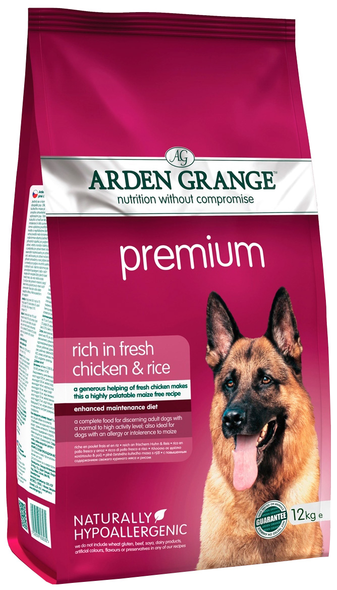 Arden Grange Premium для привередливых взрослых собак всех пород с курицей и рисом (12 + 12 кг).